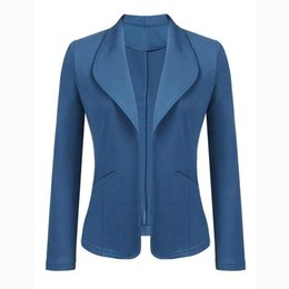 3e25db8d04538 Women Suit Coat Long Sleeve Notched Neck Slim Blazers Office Lady Solid  Color Cardigan Casual Work Outwear Suits Female  408697