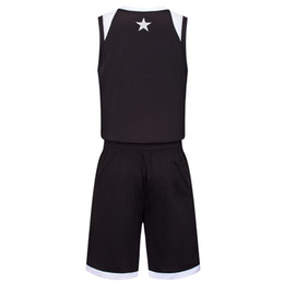 China 2019 New Blank Basketball jerseys printed logo Mens size S-XXL cheap price fast shipping good quality Black White BW002 suppliers