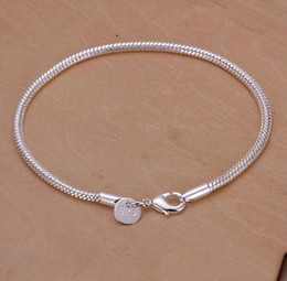 Snake Wholesalers Australia - high quality Newest style Fashion Jewelry 925 Silver 3MM Smooth snake chain Bracelet 8.0inch 20inch 10pcs lot Hot sale