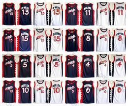 1996 Atlanta Olympiamannschaft USA Hakeem Olajuwon Shaquille O'Neal Karl Malone Charles Barkley Pippen Miller Hardaway Jersey Genäht im Angebot