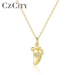 $enCountryForm.capitalKeyWord Australia - CZCITY Link Chain 925 Sterling Silver Sole Pendant Necklaces for Women Fine Jewelry Party Small Cute Paw Collares Gifts SN0296