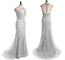 Discount pure dark chocolate - High-End Custom Pure Hand-Beaded Fashion Ball Mermaid Evening Gown Sexy Fishtail Package Hip Silver Gray Lace Ball Gown