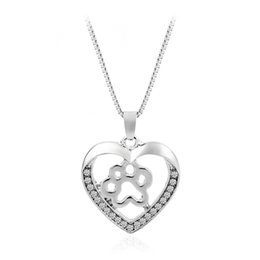 Dog penDant footprint online shopping - pretty High Quality Pet Dog Paw Footprint Hollow Love Heart Pendant Silver Color Choker Necklaces For Women Jewelry Heart Necklace