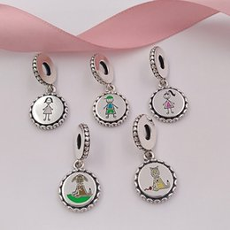 Cat Dog Figures Australia - Family Collection 925 Sterling Silver Stick Figure Charms include Mom Boy Girl Dog and Cat Fit European Pandora Style Bracelets & Necklace-P