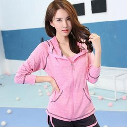 mixed color hoodie Australia - Women sportwear hoodies coat yoga running workout zipper jacket top