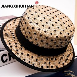 embroidered straw hats Australia - 2019 Hot black lace sun hats bow hand made women straw cap beach big brim hat casual girl summer cap 55-58cm #47488