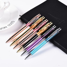 Metal Stationary Australia - 50pcs  lot Luxury Ballpoint Flow Oil Crystal Foil Metal Pen Cute Stationary Novelty pens for writing School Office 12 colors