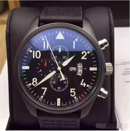 Wholesale Aviator Military Quartz Watch Male Clock Full Stainless Steel Calendar Display Luxury Mens Watch Gun Black Color Canvas Strap