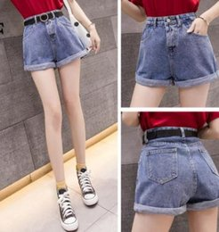 Korean Jeans Hot Pants Australia - Fashionable curly wide-legged shorts for women in the Korean version of the new high-waist slim casual jeans hot pants trend in 2019