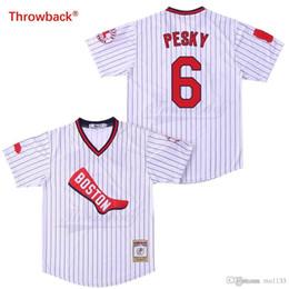 e72692eaa Throwback Baseball Jersey Men's Boston Jersey Pesky Jerseys Colour White  Black Red Grey Green Dark Blue Shirt Stiched Cheap