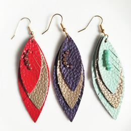 $enCountryForm.capitalKeyWord Australia - Genuine Leather Earrings for Women Leaf multilayer leather Earrings with beads Fashion Handmade Boho Women Jewelry