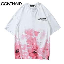 $enCountryForm.capitalKeyWord Australia - GONTHWID Cherry Blossom Ink Tie Dye Print T Shirts Streetwear Men Hip Hop Casual Short Sleeve Tops Tees Harajuku 2019 Tshirts