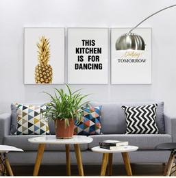 Painting Plants Australia - Nordic Modern Minimalist Decorative Painting English Golden Pineapple Fruit Painting Plant Flowers Unframe Painting