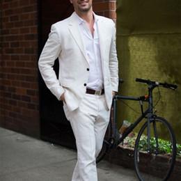 Simple Suit Designs Australia - Latest Coat Pant Designs Ivory white Linen Casual Men Suit Summer Beach Tuxedo Simple Custom Made 2 Piece Jacket Mens Suits C19041601