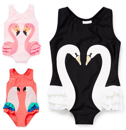 baby girl summer suits UK - Baby swimsuit Swan print One Piece Swimwear Girls Flamingo Ruffle Bikini Summer Princess Beachwear Cap Set Kids bathing Suit sets CLS816