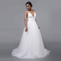 $enCountryForm.capitalKeyWord Australia - Latest Sexy Deep V Neck Beads Backless A-line Wedding Dresses Zipper Covered Button Sweep Train Vestios De Novia Garden Wedding Bridal Gowns
