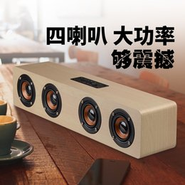 bluetooth speaker car Canada - Wooden Wireless Bluetooth Speaker Home Computer Mobile Phone TV Sound Tyrant Creative Audio One Generation Explosion Models
