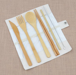 $enCountryForm.capitalKeyWord NZ - DHL Bamboo Cutlery Set 6Pcs Set with Cloth Bag spoon Fork Knife chopsticks straw brush Flatware Dinnerware Set Kitchen Cooking Kitchen Tool
