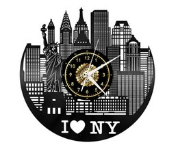 york gifts UK - New York City Landscape Vinyl Record Wall Clock Home Decor Retro Style Handmade Art Personality Gift (Size: 12 inches, Color: Black)