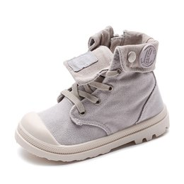 wide shoes children Australia - 2019 Spring Autumn New Kids Sneakers High Children's Canvas Shoes Boys And Girls Child Baby Martin Boots Casual Military Boots Y19051303