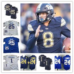 NCAA Pittsburgh Panthers  24 James Conner 25 LeSean McCoy 1 Larry  Fitzgerald 8 Pickett Pitt College Football Navy Blue Royal White Jerseys 5d1e404ba