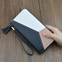 credit card korea Australia - Contrast color stitching long wallet ladies clutch bag female 2019 new fashion Japan and South Korea large capacity zipper wallet4