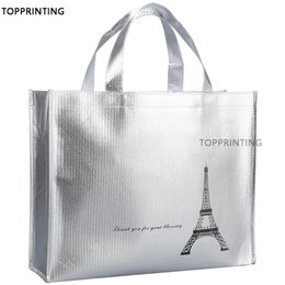 $enCountryForm.capitalKeyWord Australia - Metallic Shiny Silver Logo Tote Bags in Shopping Promotional Reusable Waterproof Shopper Non Woven Bag 500pcs lot For New Stores