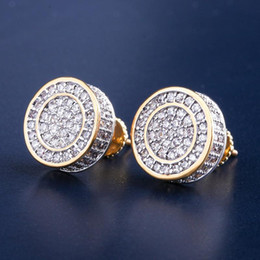 9c4ead070 12mm Iced Out Bling CZ Round Earring Gold Silver Color Plated Stud Earrings  Screw Back Fashion Hip Hop Jewelry