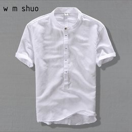 Leisure Shirt Free Shipping Australia - New High Quality leisure Linen Shirts 2019 Summer Men Fashion Style Brand Short Sleeved Shirts Men Free Shipping Y002 #462623