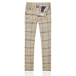 $enCountryForm.capitalKeyWord UK - Autumn and winter Mens Striped Plaid Suit trousers Slim Design Pants Men Yellow Blue Gray Black Men Pant Asia size S - 5XL