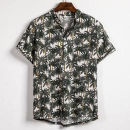 $enCountryForm.capitalKeyWord Australia - Casual Mens shirt Camisa Hawaiian Short Sleeve shirt Streetwear Ethnic Cotton Linen Printing Male Blouse Camisa masculina