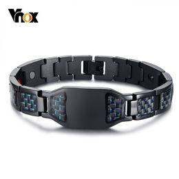 "$enCountryForm.capitalKeyWord Australia - Vnox Health Energy Carbon Fiber Bracelets Bangles For Men Jewelry Stainless Steel Bio Magnetic Pulseira Masculina 8.26"" Y19051101"