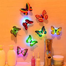 butterfly wall lamp UK - 10pcs LED 3D Butterfly Wall Lights Colorful Fibre Flash Butterfly Light for Event Party Wall Sticker Small Night Lamp