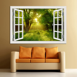 Chinese  3D Window View Forest Landscape in Four Seasons 3D Wall Sticker Green Golden Tree Removable Wallpaper Home Decal Home Decor manufacturers