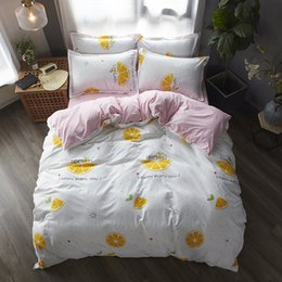 $enCountryForm.capitalKeyWord Australia - Cartoon fruits Bed Linen girls Duvet Cover sets pink Bed Sheet Pillowcase 3 4 pcs twin queen king white Bedding Set Home textile