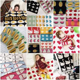 Wholesale Knitted Cotton Baby Blanket autumn winter Heart Cross Swan Children Throw blanket sofa Bed blanket