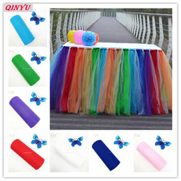 easter table runners Australia - 27Colors tulle rolls 22mX15cm Wedding Table Runner Decoration Yarn Roll Crystal Tulle Organza Sheer Gauze wedding 6z