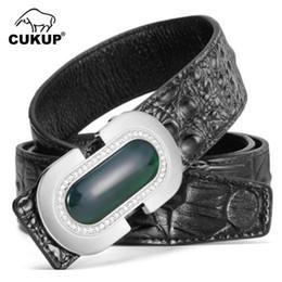 UniqUe belts for men online shopping - CUKUP Unique Design Real Jade Decorative Smooth Buckle Metal Belts Crocodile Pattern Leather Belt for Men Accessories LUCK707