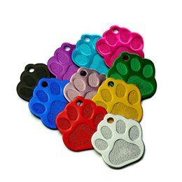wholesale pet tags NZ - Tags Wholesale 100Pcs 3D Exquisite PAW Shape Pet Dog ID Tags Custom Engraved Name Phone No. Cat Dog ID Tag Personalized