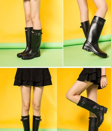 pink rain boots Australia - Hot Sale-d rainboots fashion Knee-high tall rain boots England style waterproof welly boots Rubber rainboots water shoes rainshoes
