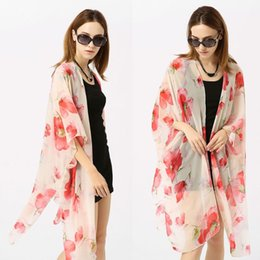 c4efe63a6b Womens Chiffon 3 4 Sleeves Swimsuit Cover Up Bohemian Poppy Flower Printed  Lightweight Asymmetric Open Front Kimono Cardigan Top