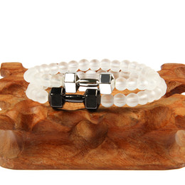 $enCountryForm.capitalKeyWord Australia - 6mm Hematite Beads Dumbbell Bracelet Weathered Granite Stone Bracelets For Women Men Fitness Glass Beads Barbell Jewelry Pulseras