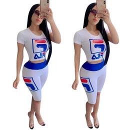 $enCountryForm.capitalKeyWord Australia - Summer F Letter Women clothes Tracksuit Off Shoulder Vest Tank Crop Top + Shorts 2 Pieces Sports Set