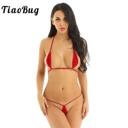Wholesale bikini micro for sale – plus size TiaoBug Women Two piece Mini Micro Teardrop Shape Sexy Bikini Set Halter Self tie Bra Top with G String Briefs Swimsuit Swimwear