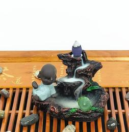 Plant Blocks Australia - Reflujo incienso quemador resina decoración creativa decoración el pequeño monje Pequeño Buda incensario de uso en casa de té un