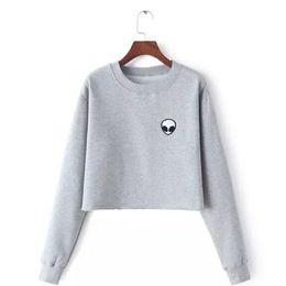 Women Jumper Shorts NZ - ET Aliens Printing Hoodies Sweatshirts harajuku Crew neck Sweats Women Clothing Loose Short Fleece Jumper Sweats Warm