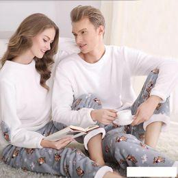Pajamas for couPles online shopping - SSH042 Winter Flannel Couples Matching Pajamas Adult Full Sleeve Pyjamas For Women Men Full Length Pajama Set Warm Sleepwear