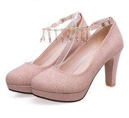 Size 46 Shoes Australia - Plus size 35 to 40 41 42 43 44 45 46 Glitter rhinestone chain thick high heels wedding shoes sexy women designer shoes