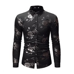 $enCountryForm.capitalKeyWord Australia - Shirt Printing Men's Dress New Men's Peony Flower Simple Bronzed Fashion Long Sleeve Shirt