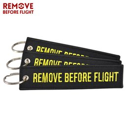 car remove UK - 20 PCS LOT Wholesale Keychain for Cars and Motorcycles Embroidery Key Chain Key Fobs REMOVE BEFORE FLIGHT Black Keychain for Car
